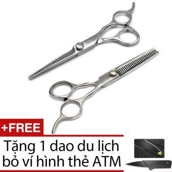 Bộ 2 kéo cắt tóc và tỉa tóc siêu bền GMT (bạc)+ dao xếp hình ATM (đen)