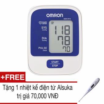 Máy đo huyết áp bắp tay Omron HEM-8712 (Trắng phối xanh)+Tặng 1 nhiệt kế Alsuka