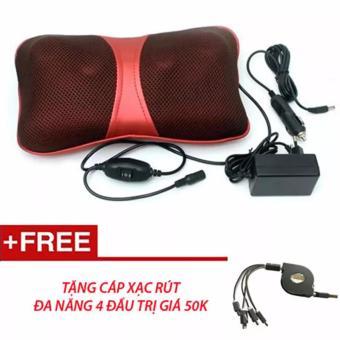 Gối massage đa năng PL-818 (6 Bi) Tặng dây cáp 4 đầu ip,ss (Đỏ)