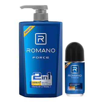 Bộ sản phẩm dầu gội 2 trong 1 và lăn khử mùi dành cho nam Romano Force (650g+50ml)