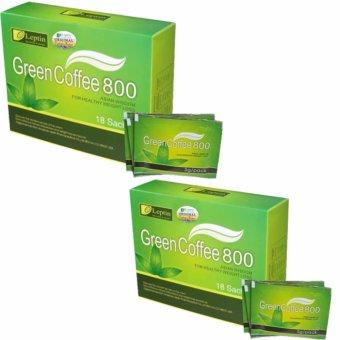 Bộ 2 Hộp Cafe Xanh Giảm Cân, Tan Mỡ Leptin green coffee chuẩn hãng từ Mỹ (màu xanh 800)