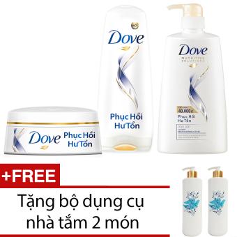 Mua Bộ Dove phục hồi hư tổn dầu gội 650g + Kem xả 170g + Kem ủ 200ml + Tặng bộ dụng cụ nhà tắm 2 món giá tốt nhất