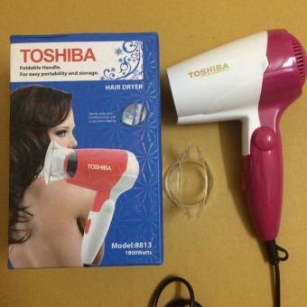 Máy sấy tóc du lịch mini gấp gọn 3 cấp độ sấy Toshiba 8813 1800W (Trắng phối hồng)