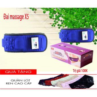 Đai massage giảm mỡ bụng X5 (Xanh) + Tặng quần lót nữ thời trang