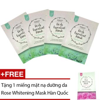 Bộ 4 mặt nạ Bidanmi Herb Essential + Tặng mặt nạ Rose Whitening