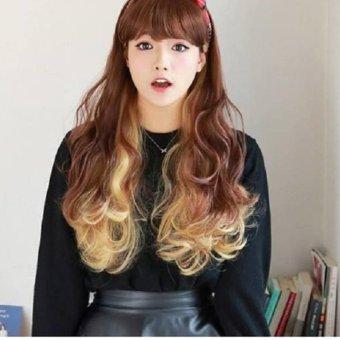 Bộ tóc giả ombre xoăn dài (Nâu Vàng)