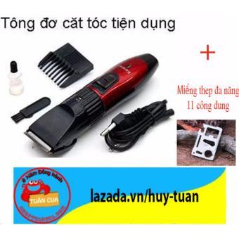 Tông đơ cắt tóc, tạo kiểu cho trẻ em ( Đỏ phối đen ) + Free miếng thép đa năng 11 công dụng