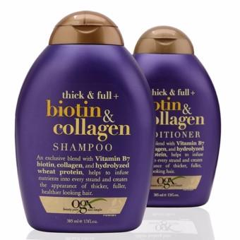 Cặp dầu gội và dầu xả kích thích mọc tóc OGX Thick and Full Biotin and Collagen Shampoo & Conditioner (Tím) 385 ml