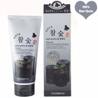 Sữa Rửa Mặt Hút Sạch Bụi Độc Tố Thanh Lọc Da Foodaholic Charcoal Foam Cleansing Hàn Quốc 180ml - Hàng Chính Hãng