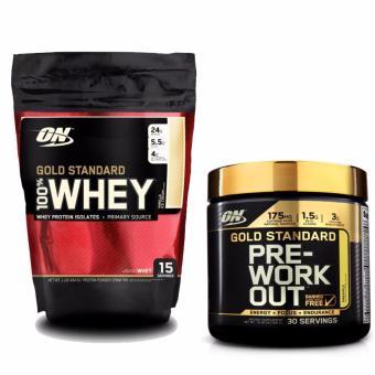 Bộ sản phẩm Gold Standard 100% Whey 1lb Vanilla Ice Cream và Gold Pre-Workout 300g Pineapple