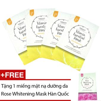 Bộ 4 mặt nạ Bidanmi Vitamin Essential + Tặng mặt nạ Rose Whitening