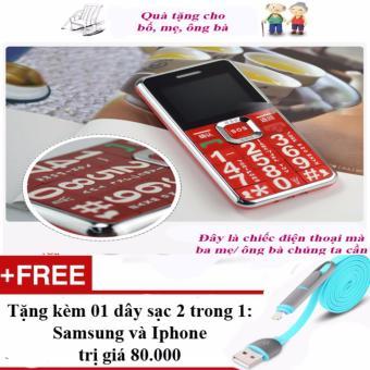 Điện thoại bàn phím to và chữ lớn dành cho người lớn tuổi + 01 dây sạc điện thoại 2 trong 1 cho Iphone và Samsung