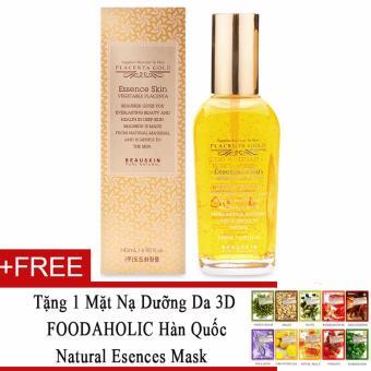 Nước hoa hồng dưỡng trắng sáng da Beauskin Placenta Gold Toner (Essence Skin) 145ml + Tặng 1 mặt nạ dưỡng da 3D FOODAHOLIC Hàn Quốc natural esences mask