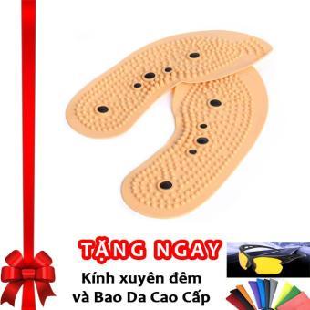 Miếng lót giày massage, nam châm bấm huyệt và khử mùi hôi chân F67 (Màu da) + Tặng kính xuyên đêm và bao da cao cấp