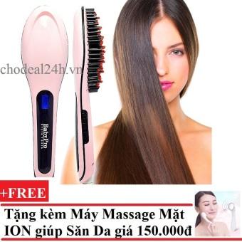 Lược điện tự động chải thẳng tóc HQT906 (Hồng) + Tặng Máy massage mặt DS-039 bằng ion (Trắng)