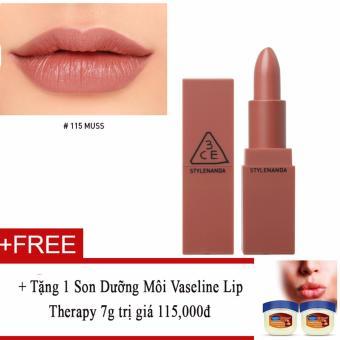 Son lì 3CE Mood Recipe Matte Lip Color #115 Muse + Tặng Son Dưỡng Môi Vaseline Lip Therapy 7g