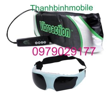 Đai massage thon gọn bụng Vibroaction (Đen) + Kính mát xa mắt