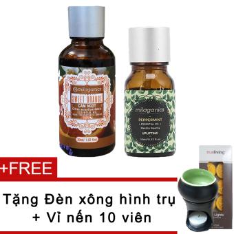 Bộ tinh dầu cam ngọt 30ml và tinh dầu tràm trà 10ml Milaganics + Tặng đèn xông tinh dầu nến trụ (Xanh lá) + 10 viên nến bông (Vàng)