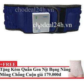 Đai mát xa bụng x5 tích hợp pin (Xanh phối đen)+Tặng Quần Nit Bụng và Nâng Mông cao cấp (màu da)