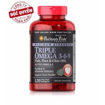 Viên uống bổ sung omega 3 6 9 đẹp da tăng cường hệ miễn dịch Puritan's Pride Premium Maximum Strength Triple Omega 3-6-9 120 viên.