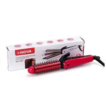 Lược điện tạo kiểu tóc 3 in 1 xoăn-là-dập xù Nova (Hồng)
