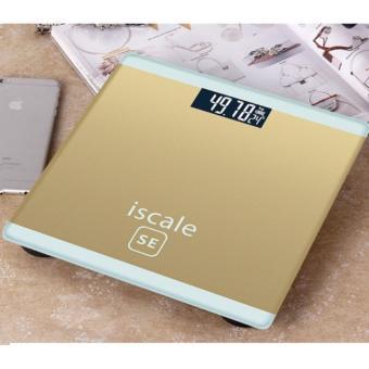 Cân sức khỏe điện tử kiêm đo nhiệt độ phòng Iscale (Tặng thước dây)