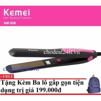Máy kẹp tóc Kemei Km-328 + Tặng kèm balo du lịch gấp gọn