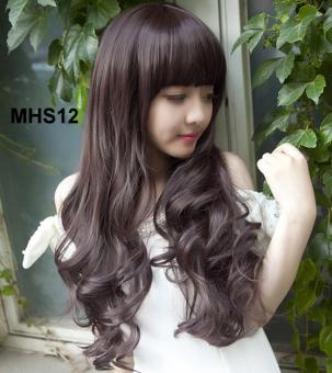 Bộ tóc xoăn mái ngang dễ thương