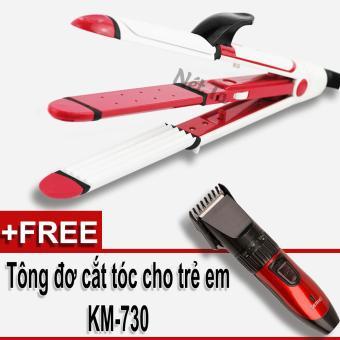 Máy duỗi uốn dập xù 3in1 Tự làm tóc tại nhà Nét Ta SH-8005 tặng tông đơ cắt tóc cho trẻ em KM-730