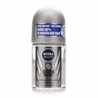 Lăn ngăn mùi nam phân tử bạc Nivea Silver Protect 48h anti-bacterial protection 50ml (Đức)