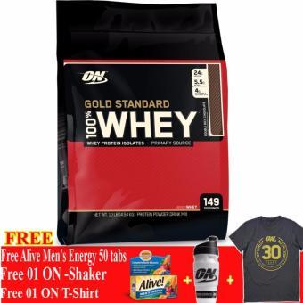 Thực phẩm bổ sung tăng cơ Gold Standard 100% Whey Double Rich Chocolate 10 lbs + Tặng Alive Men Energy 50 viên, Bình lắc và Áo Thun