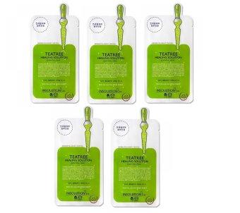 Bộ 5 gói Mặt nạ dưỡng da trị mụn chiết xuất trà xanh Mediheal Teatree Healing solution Essential Mask 25ml x5