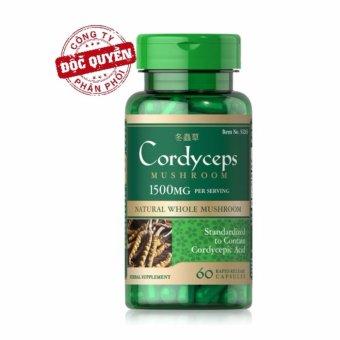 Viên uống đông trùng hạ thảo bồi bổ sức khỏe, tăng cường sinh lý, hỗ trợ tim mạch Puritan's Pride Cordyceps Mushroom 750mg 60 viên