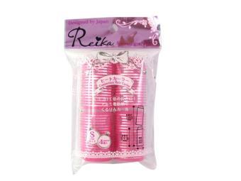 Dụng cụ quấn tóc Reika (4 cái) Size S, màu hồng, có khớp nối