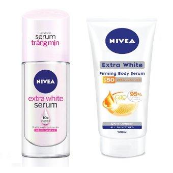 Bộ 1 serum dưỡng thể trắng da chống nắng NIVEA 180ml và 1 lăn ngăn mùi serum trắng mịn NIVEA 40ml