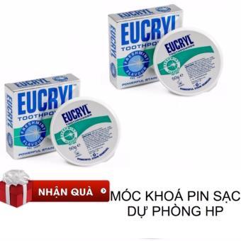 Bộ 2 bột Làm Trắng Răng Eucryl Tooth Powder 50g x 2 + MÓC KHOÁ HP