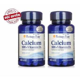 Bộ 2 Viên Uống Bổ Sung Canxi Và Vitamin D3 Puritan's Pride Calcium 600+ Vitamin D3 60 Viên 4230