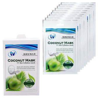 Bộ 10 Mặt Nạ Dừa Sinh Hoc dưỡng trắng da chuyên sâu TV Bio Cellulose 10 gói x 35g