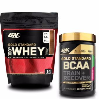 Bộ Gold Standard 100% Whey 1lb Double Rich Chocolate và Gold Standard BCAA 280gr vị Strawberry Kiwi