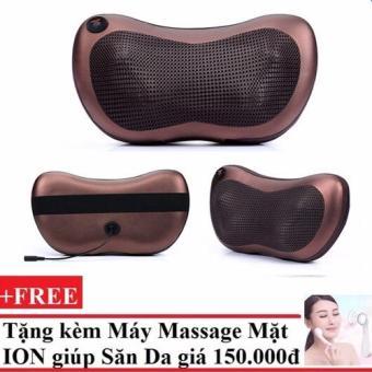 Gối mát-xa hồng ngoại Massage Pillow + Tặng Máy massage mặt DS-039 bằng ion (Trắng)