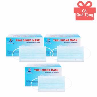 Bộ 3 hộp khẩu trang y tế Thái Dương Mask màu xanh 50 cái/hộp (TẶNG 1 HỘP CÙNG LOẠI)