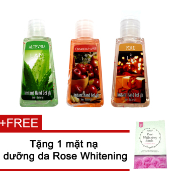 Bộ 3 gel rửa tay Lamcosme For U 60ml (Aloe Vera, Cinamon & Apple) + Tặng mặt nạ Rose Whitening Mask