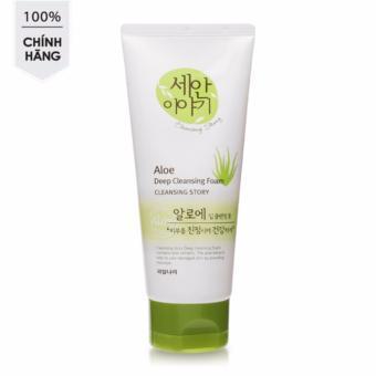 Sữa rửa mặt tinh chất lô hội dưỡng ẩm và tái tạo da Welcos Aloe Cleansing Foam Hàn Quốc 120ml - Hàng Chính Hãng