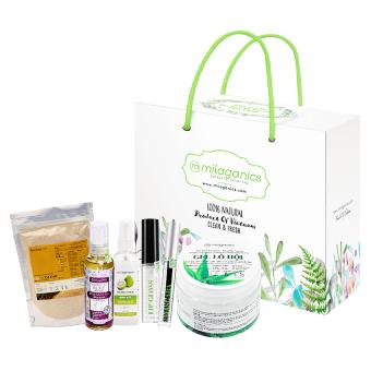 Bộ 1 mascara dầu dừa 5ml + 1 tinh chất dưỡng môi 5ml + 1 serum bưởi 100ml + 1 dầu massage 100ml + 1 bột cám gạo 100g + 1 gel lô hội Milaganics 150g