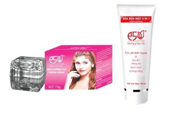 Bộ 1 Kem dưỡng da trắng hồng E5 15g và 1 sữa rửa mặt 3in1 E5 80g