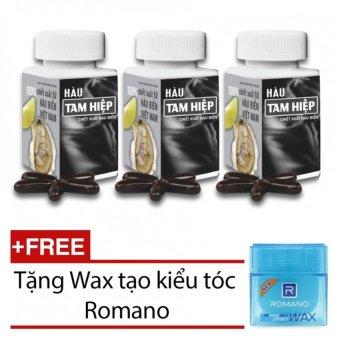 Bộ 3 hộp thực chức năng Hàu Tam Hiệp 30 viên x 3 + Tặng 1 Wax tạo kiểu tóc Romano