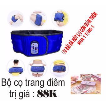 Đai masage đặc trị vùng bụng X5 (xanh)+ Bộ cọ trang điểm Kitty