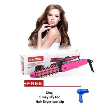 Máy Tạo Kiểu Tóc Nova 3 Trong 1 Uốn Duỗi Bấm (hồng) + Tặng 1 máy sấy tóc Hair Dyner cao cấp ( xanh)