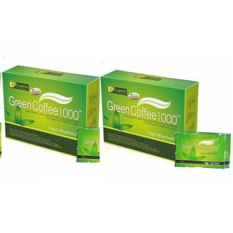 Bộ 2 Hộp Cà Phê Giảm Cân Green Coffee Leptin 1000 Của Mỹ (18 Gói / Hộp)