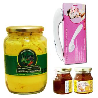 Bộ sản phẩm làm đẹp và chăm sóc sức khỏe Tinh bột nghệ vàng nguyên chất Tinh Nghệ Quê Hương TBNQH400G